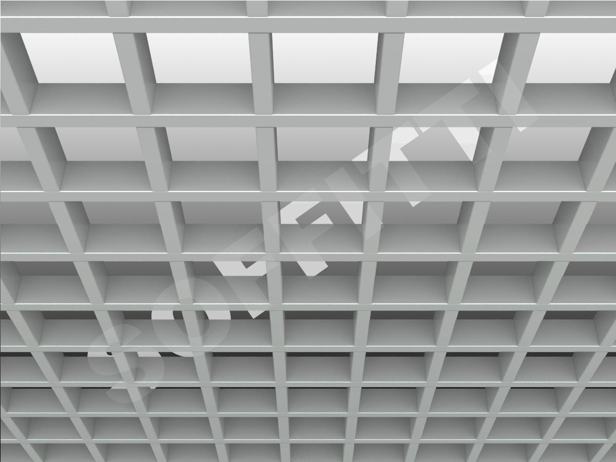 Потолок Грильято GL15 100x100 мм серый