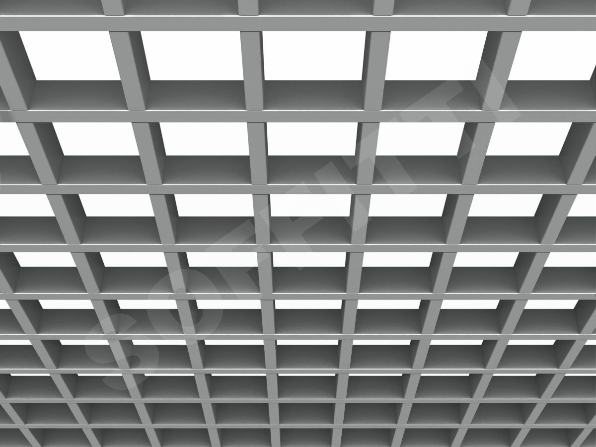 Потолок Грильято GL15 100x100 мм серебристый