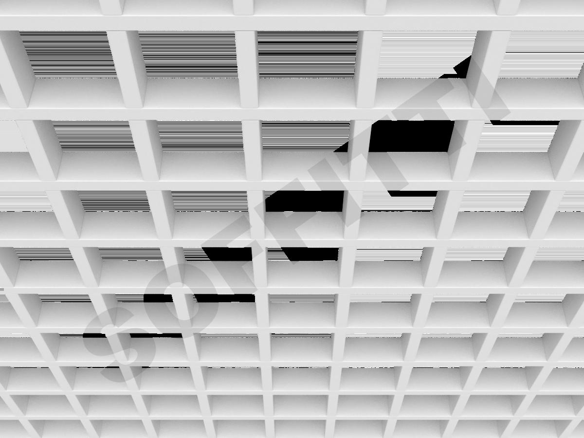 Потолок Грильято GL15 100x100 мм белый