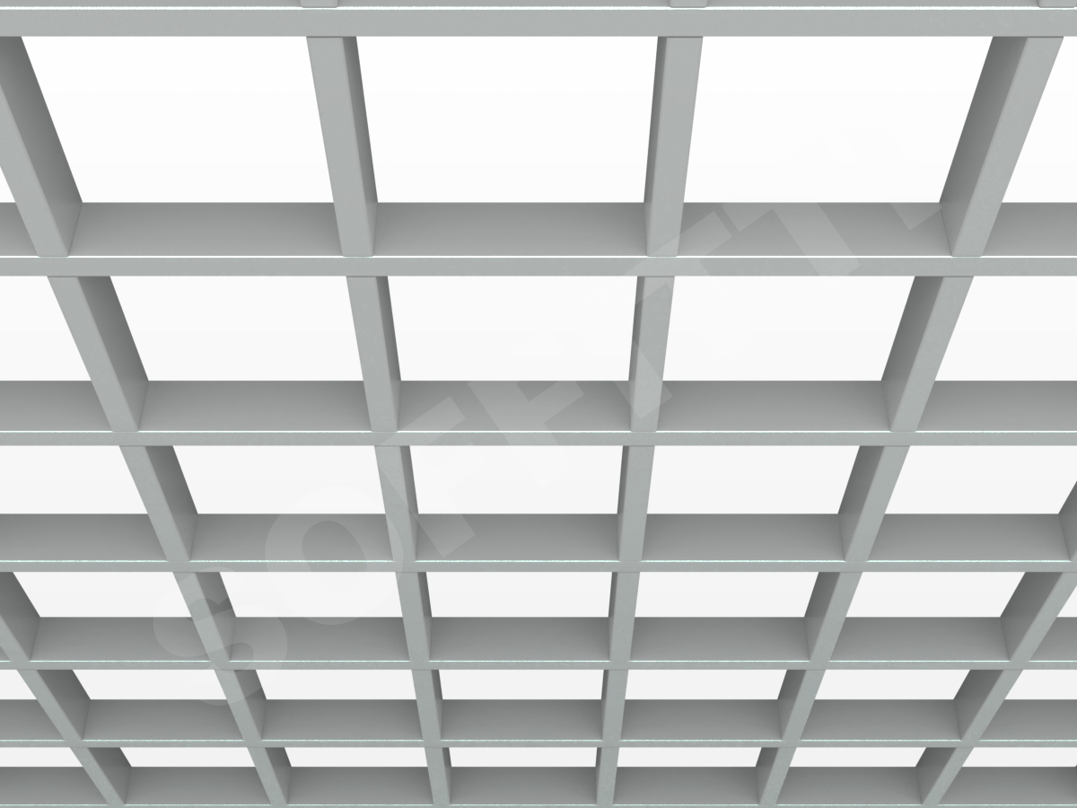 Потолок Грильято GL15 150x150 мм серый