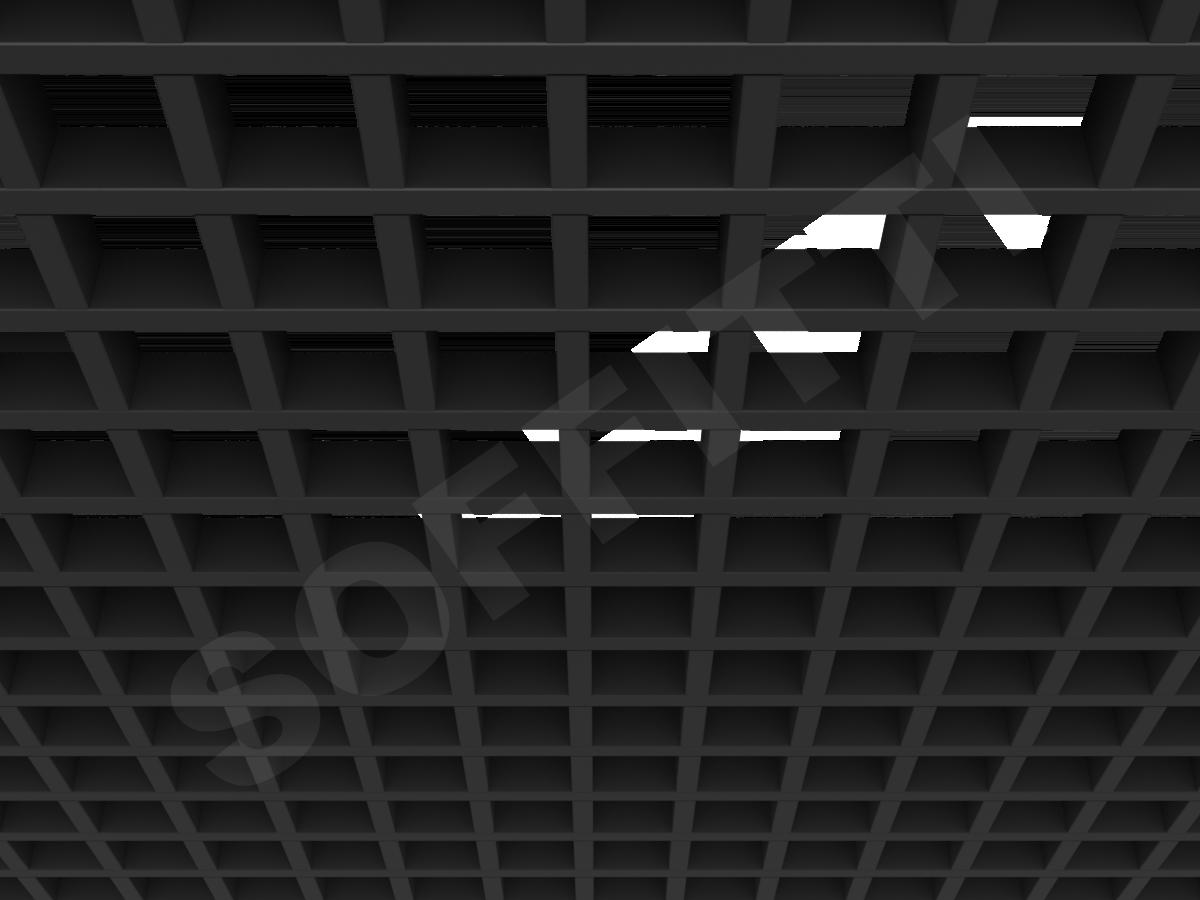 Потолок Грильято GL15 75x75 мм черный