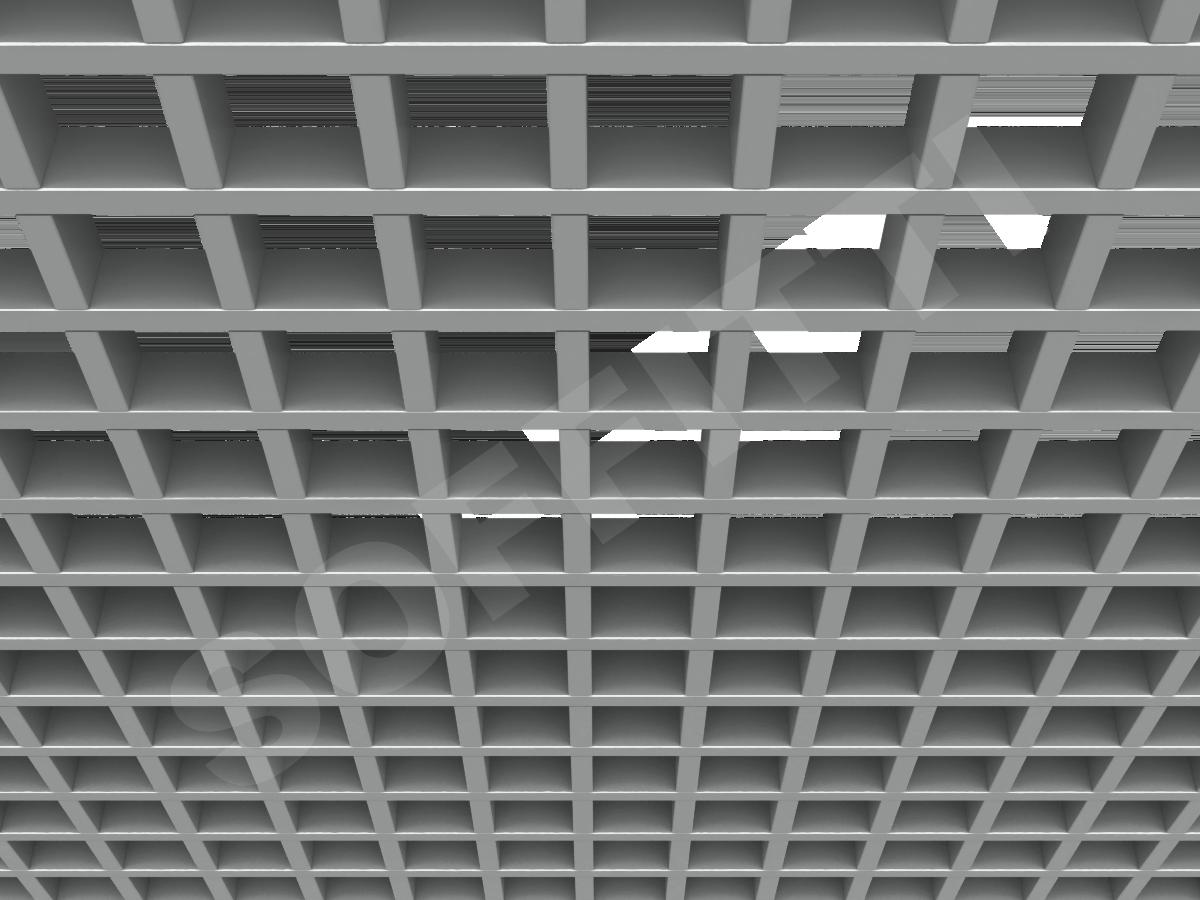 Потолок Грильято GL15 75x75 мм серебристый