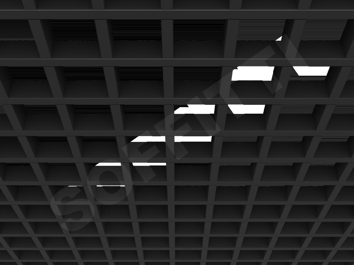 Потолок Грильято GL15 86x86 мм черный