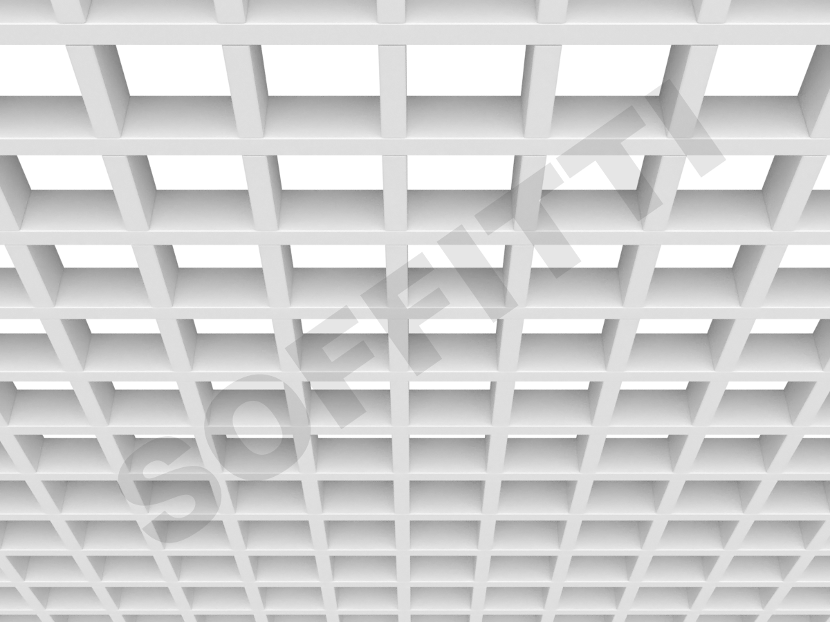 Потолок Грильято GL15 86x86 мм белый