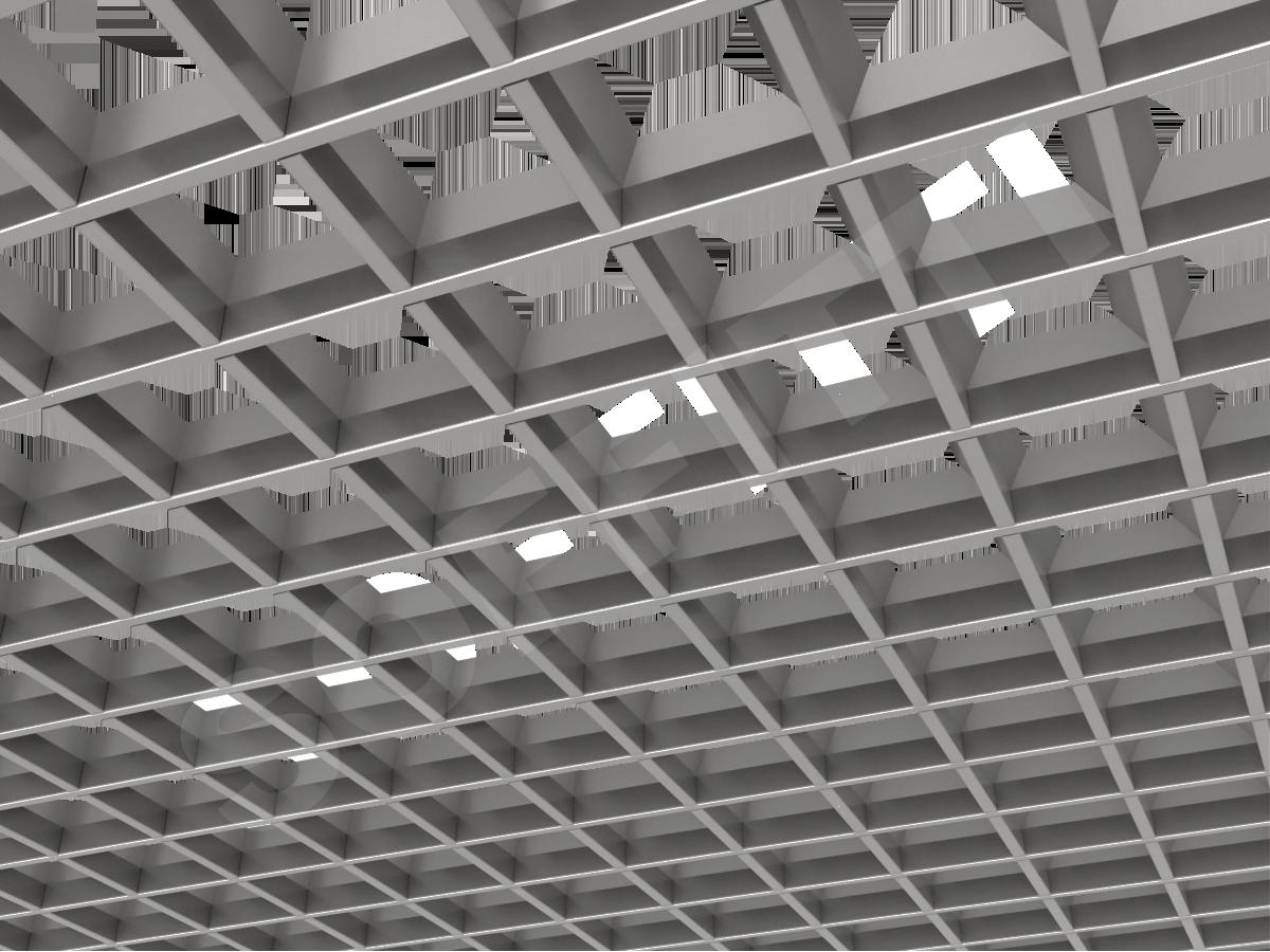 Грильято пирамидальное 100x100 мм h35 серебристый