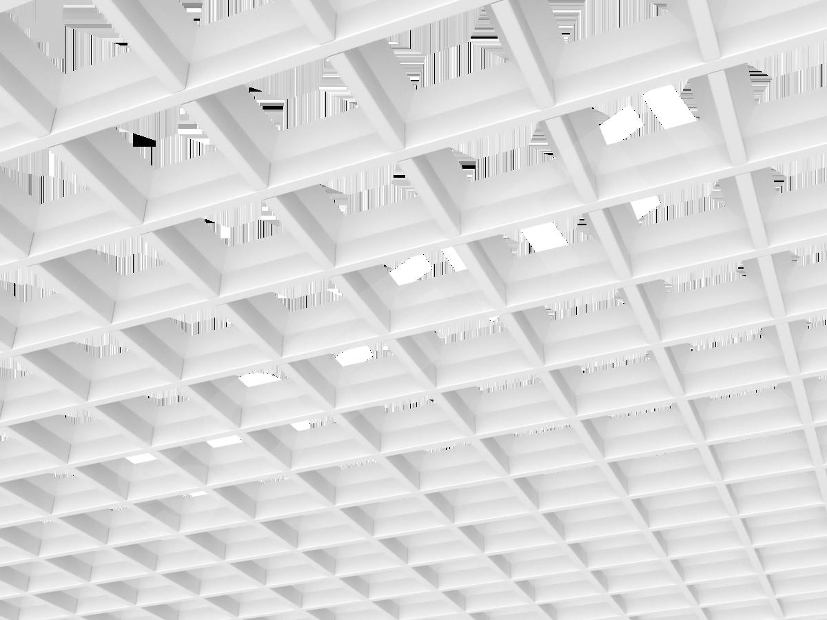Потолок Грильято пирамидальное 100x100 мм белый