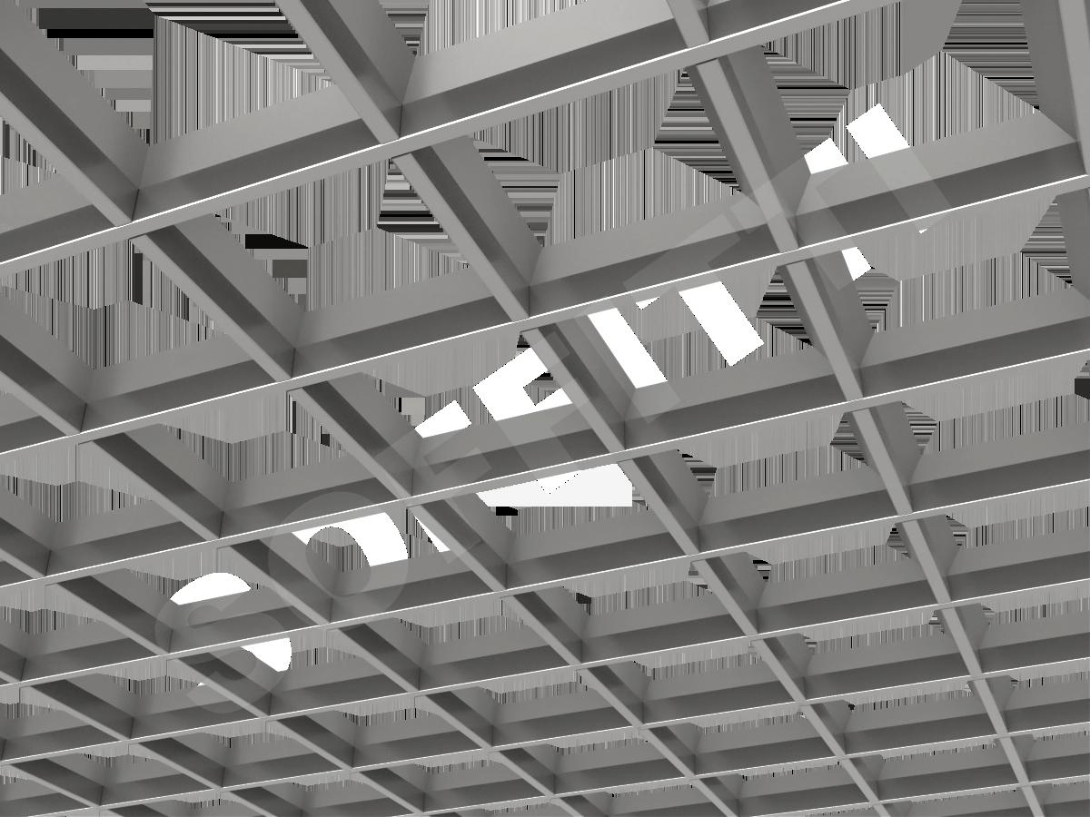 Потолок Грильято пирамидальное 150x150 мм серебристый