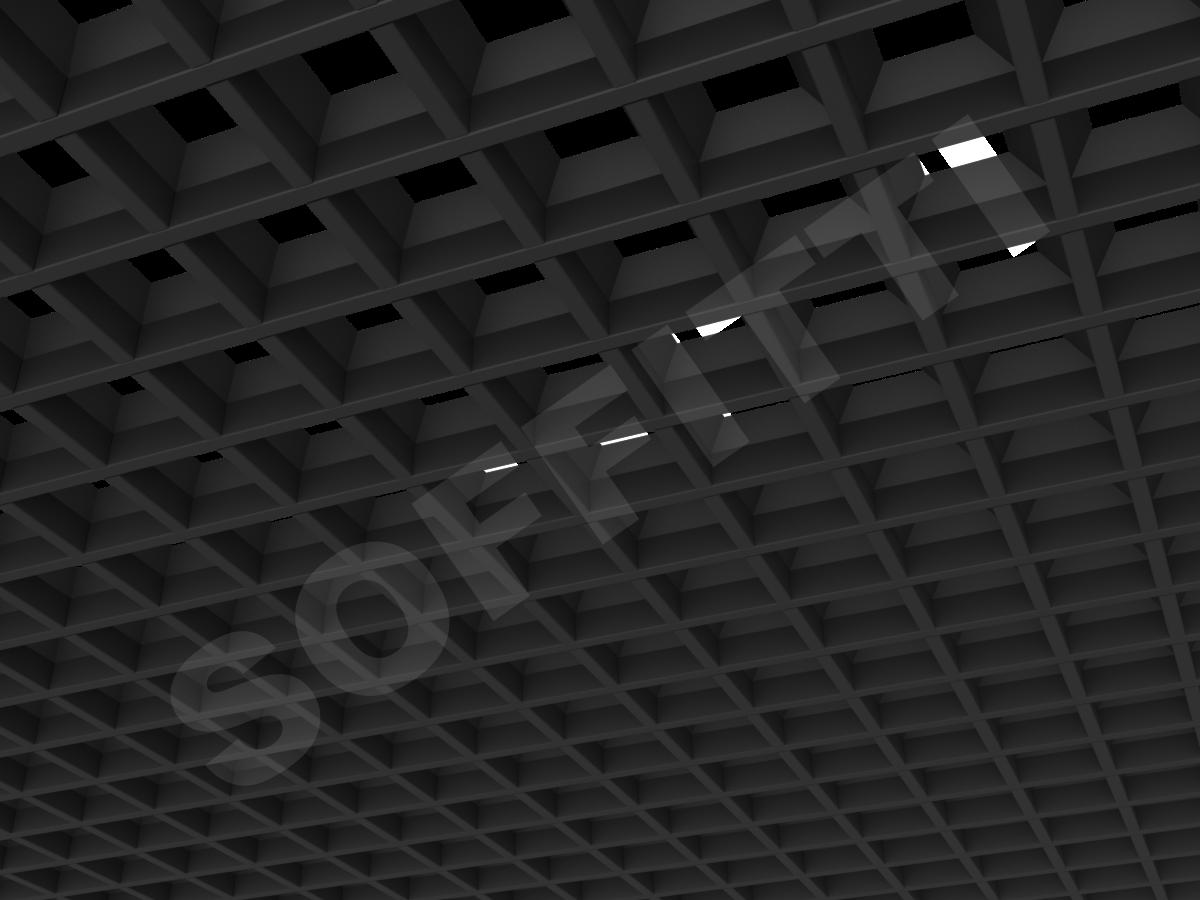 Потолок Грильято пирамидальное 75x75 мм черный