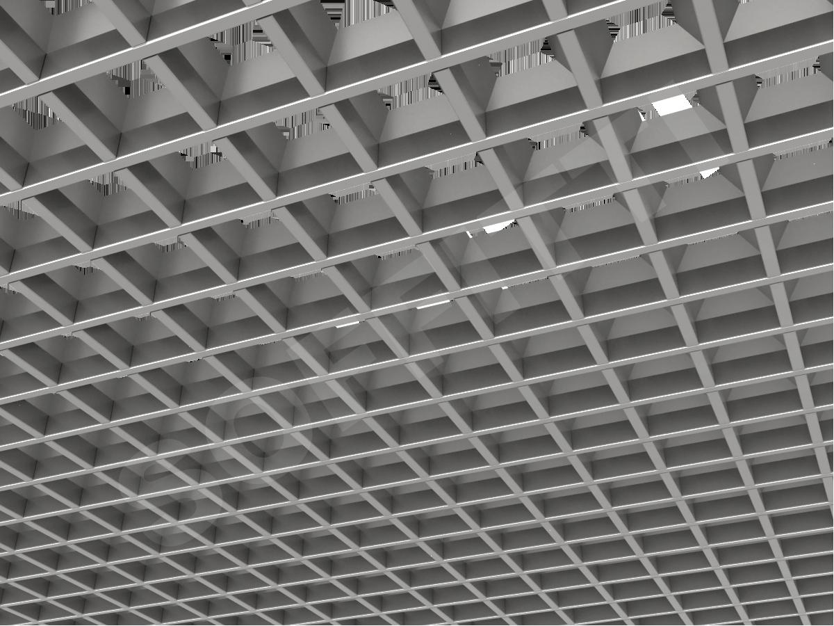 Потолок Грильято пирамидальное 75x75 мм серебристый