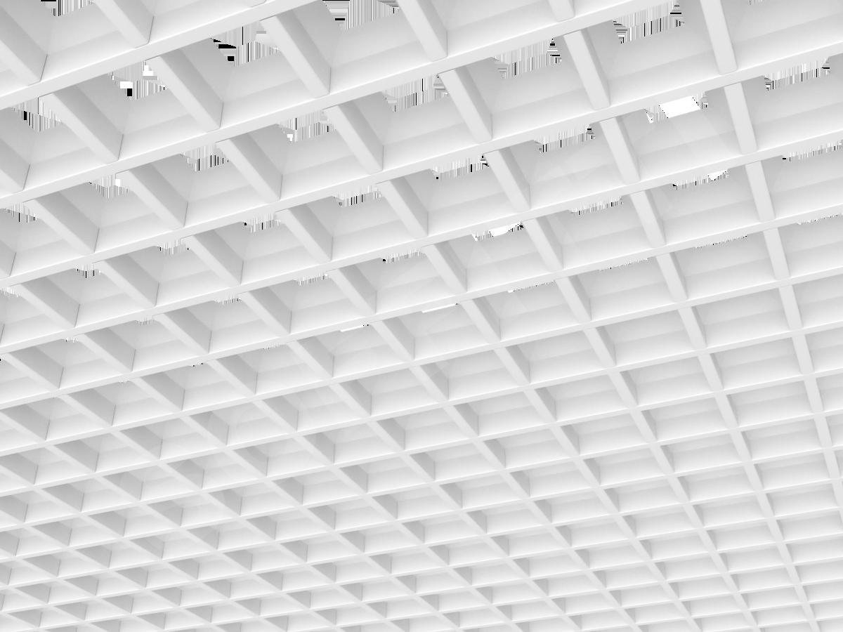 Потолок Грильято пирамидальное 75x75 мм белый