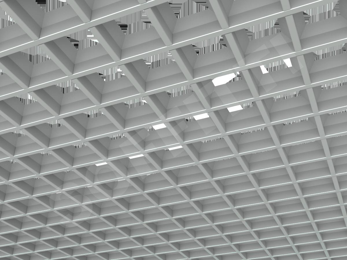 Потолок Грильято пирамидальное 86x86 мм серый