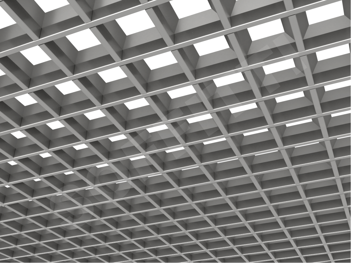 Потолок Грильято пирамидальное 86x86 мм серебристый