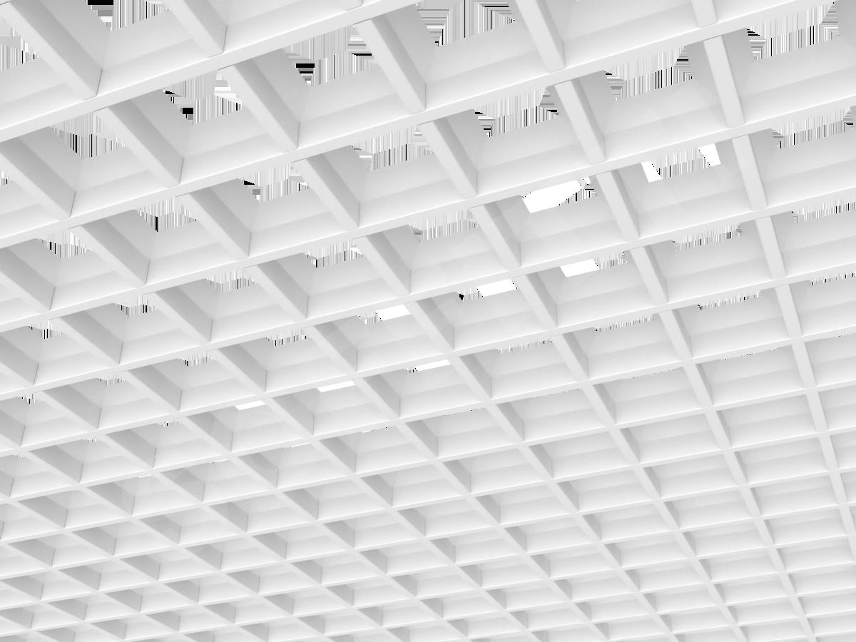 Потолок Грильято пирамидальное 86x86 мм белый
