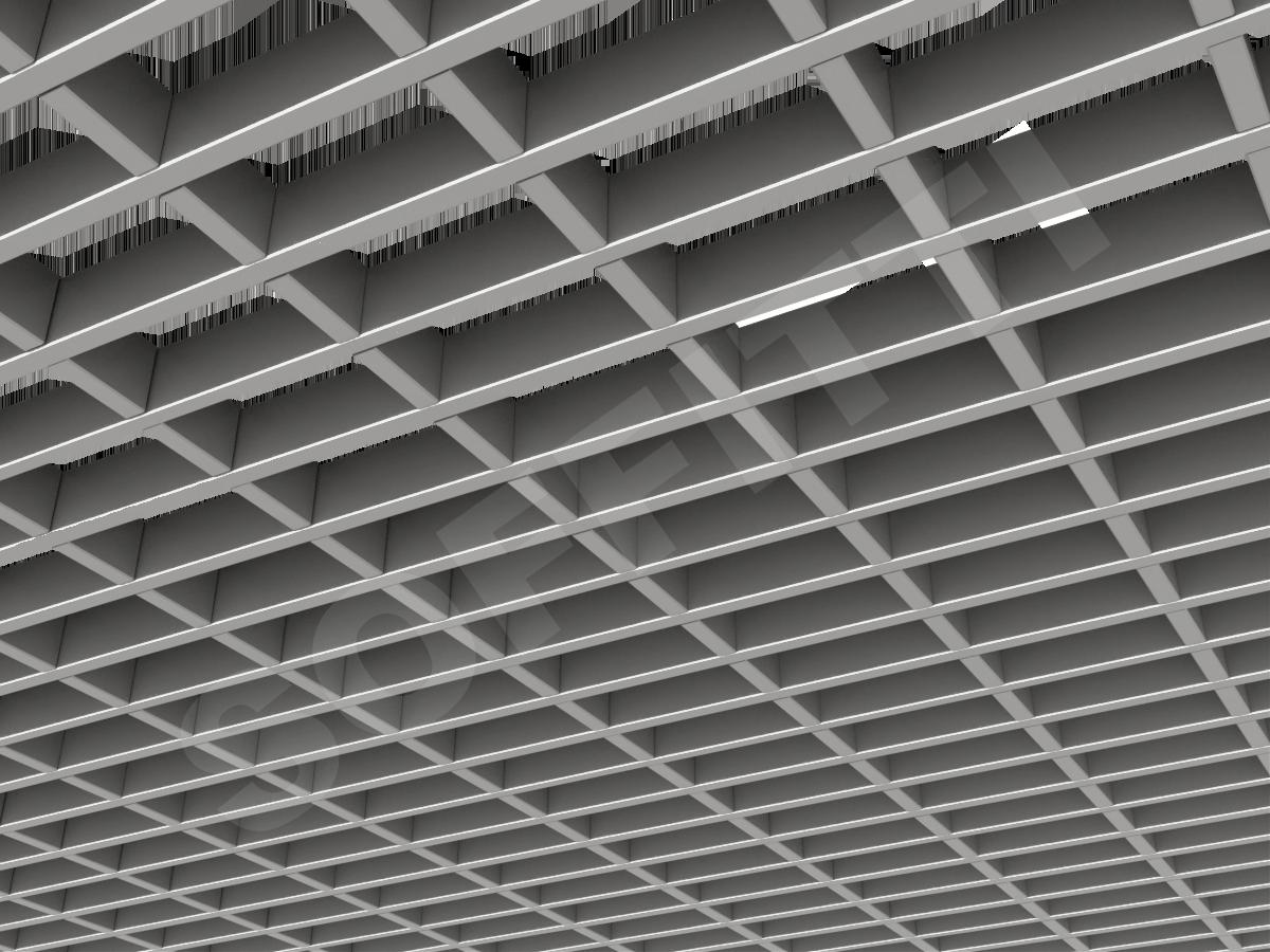 Потолок Грильято прямоугольное 100х50 мм h30 серебристый