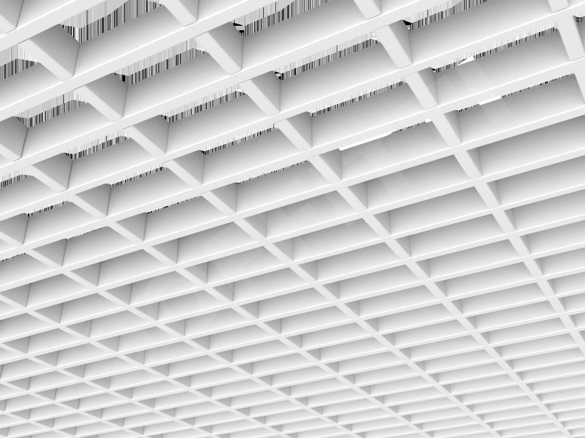 Потолок Грильято прямоугольное 100х50 мм h30 белый