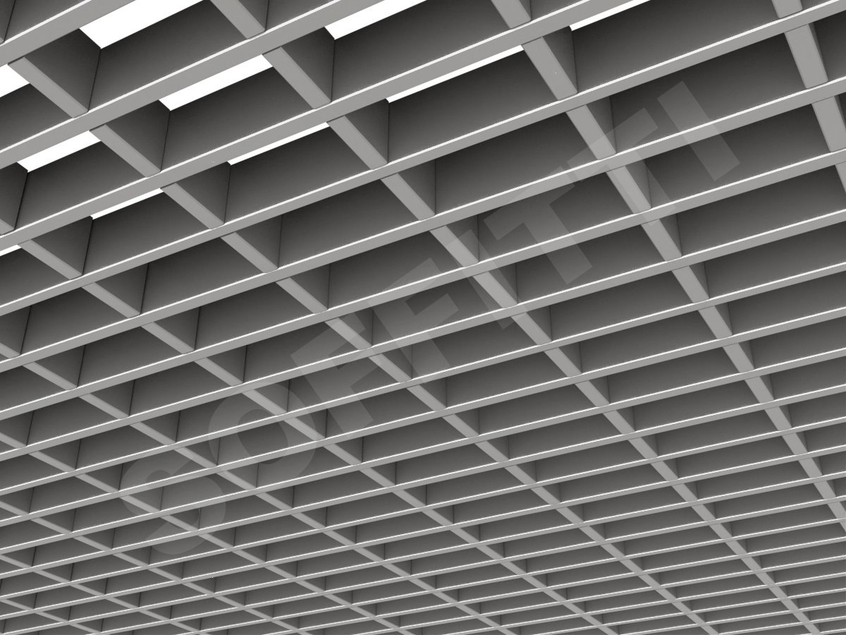Потолок Грильято прямоугольное 100х50 мм h40 серебристый