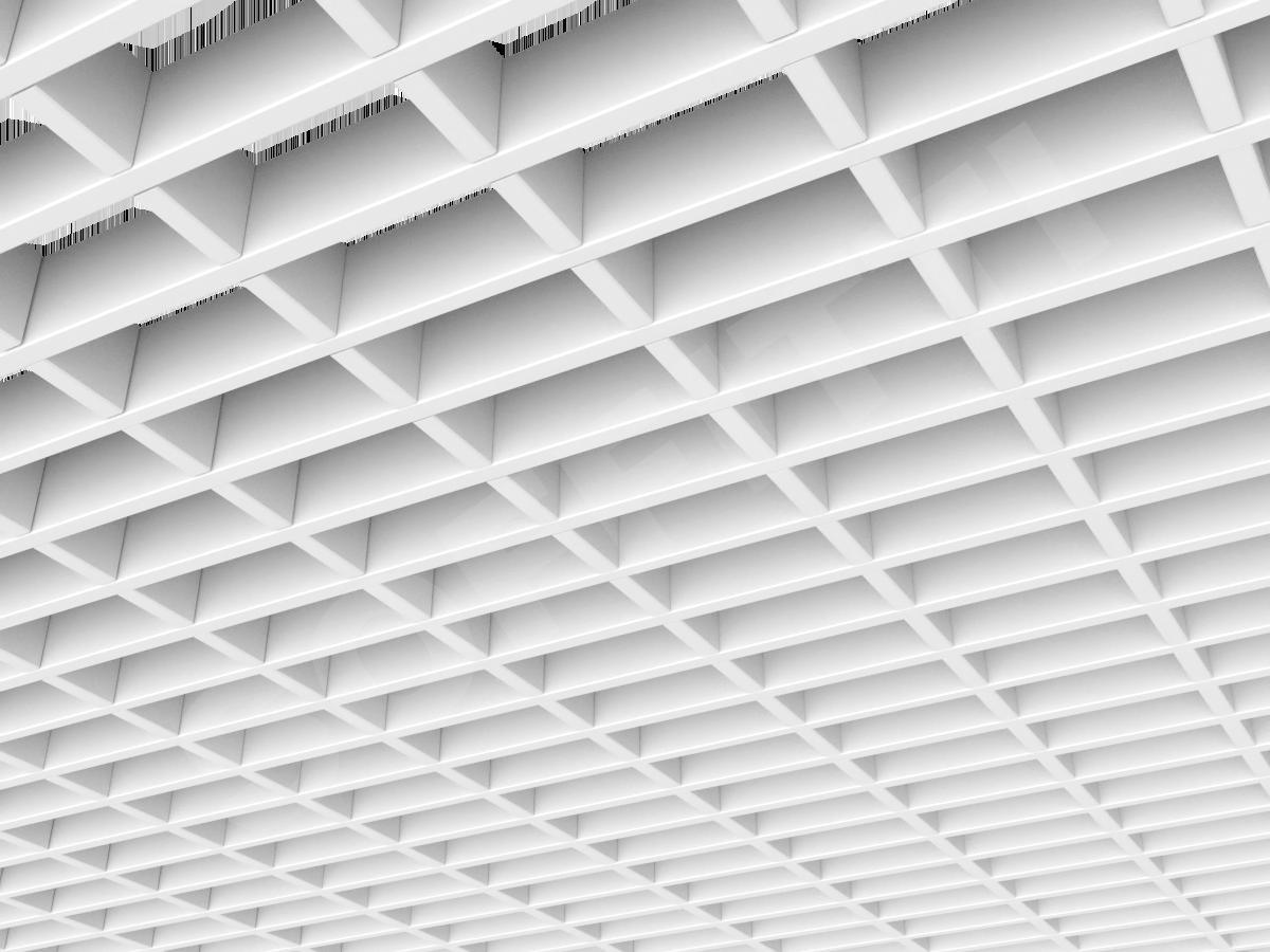 Потолок Грильято прямоугольное 100х50 мм h40 белый