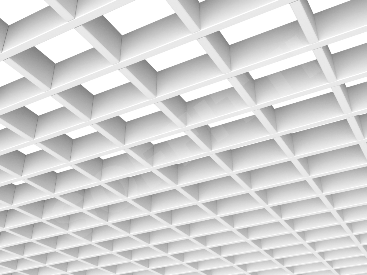 Потолок Грильято прямоугольное 100х75 мм h40 белый