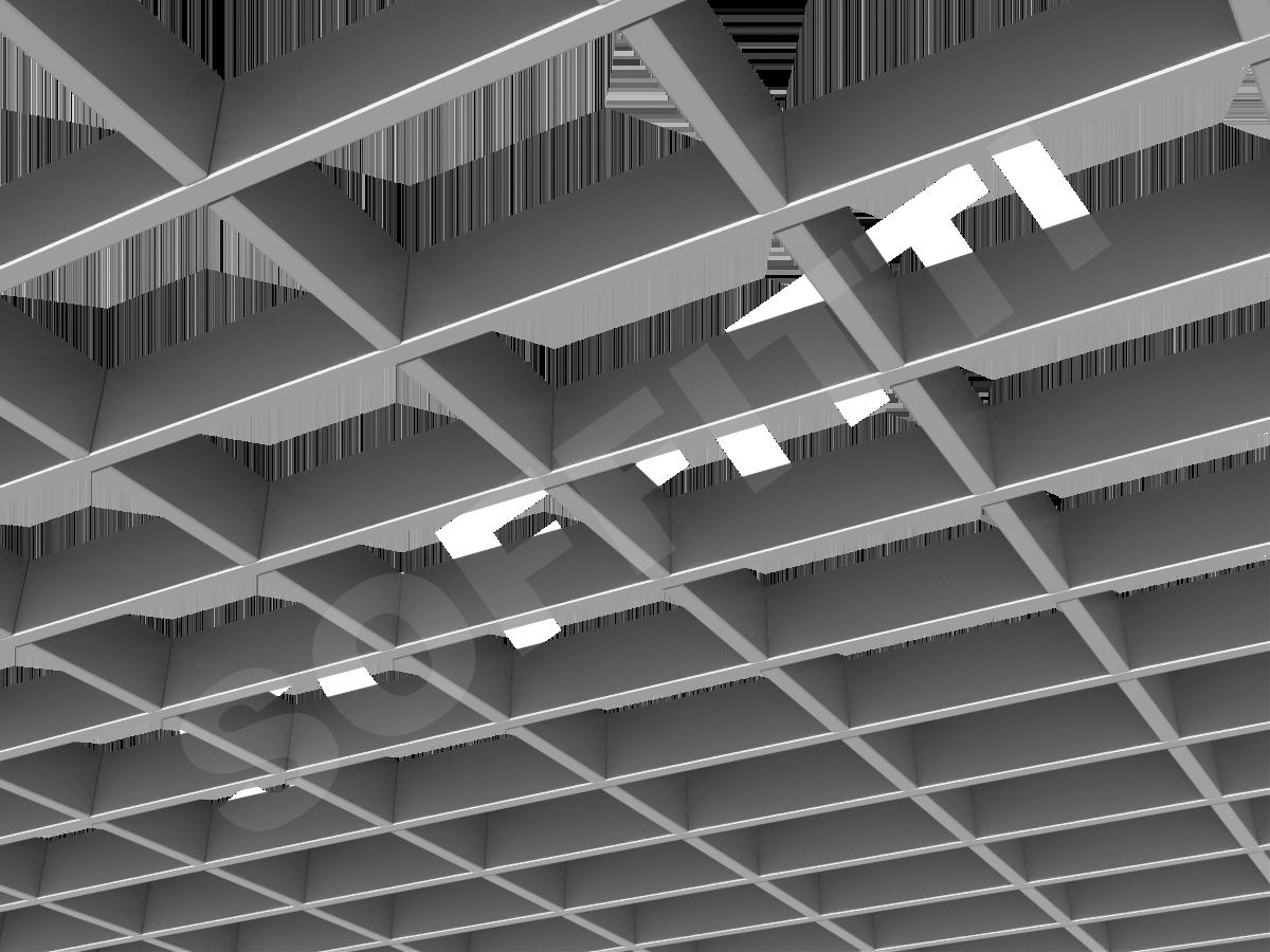 Потолок Грильято прямоугольное 150х100 мм h40 серебристый