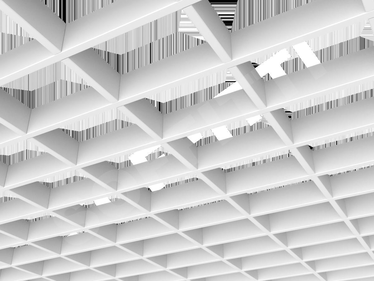 Потолок Грильято прямоугольное 150х100 мм h40 белый