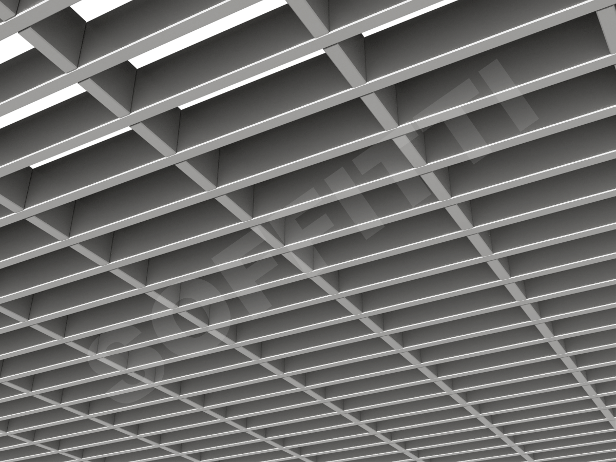Потолок Грильято прямоугольное 150х50 мм h40 серебристый