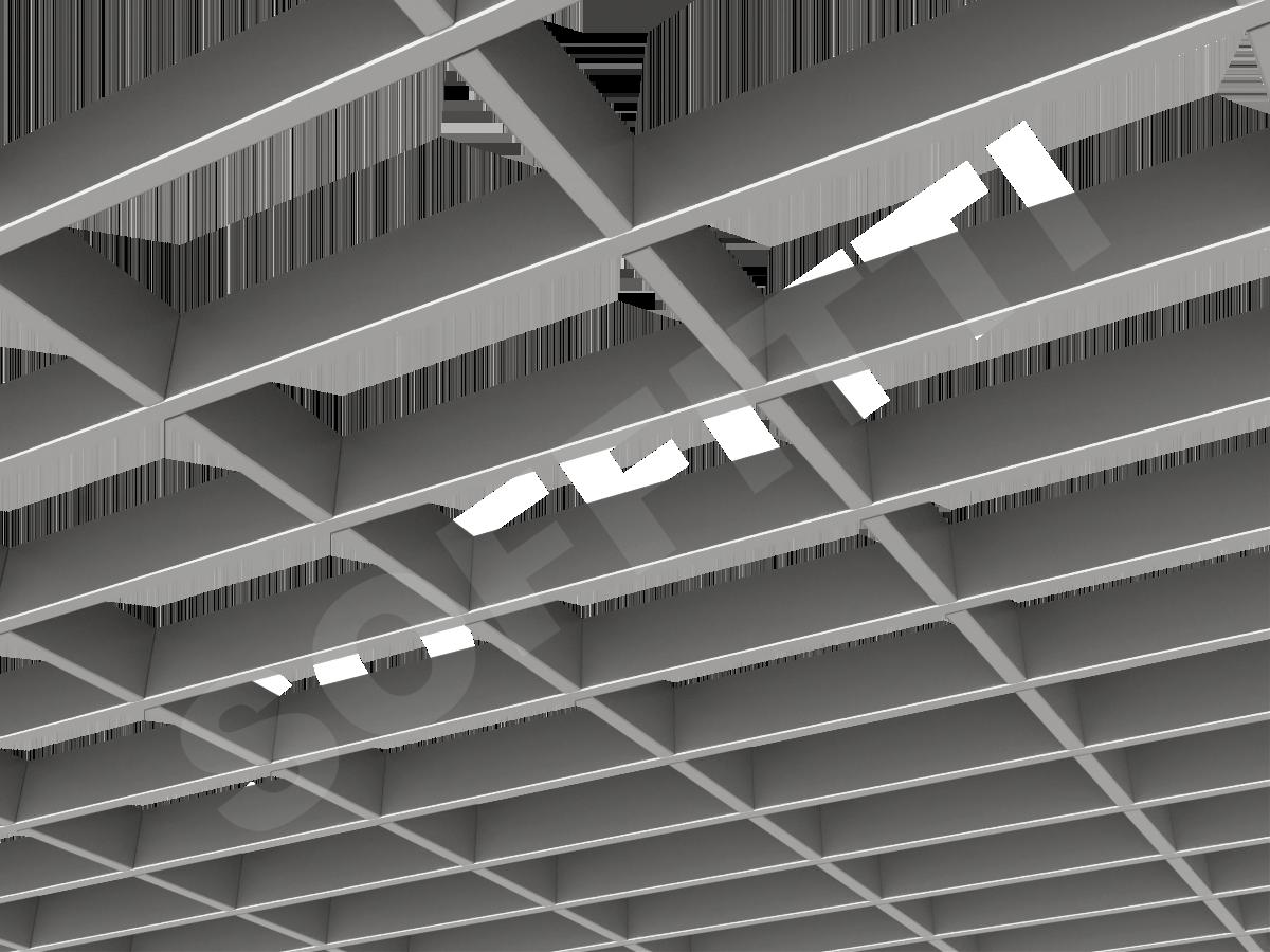 Потолок Грильято прямоугольное 200х100 мм h40 серебристый