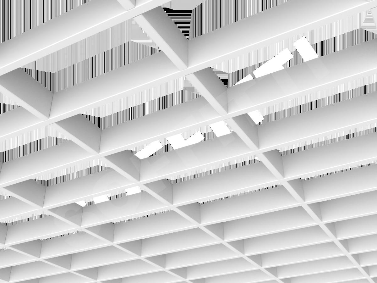 Потолок Грильято прямоугольное 200х100 мм h40 белый