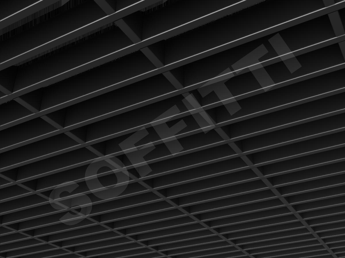 Потолок Грильято прямоугольное 200х50 мм h40 черный