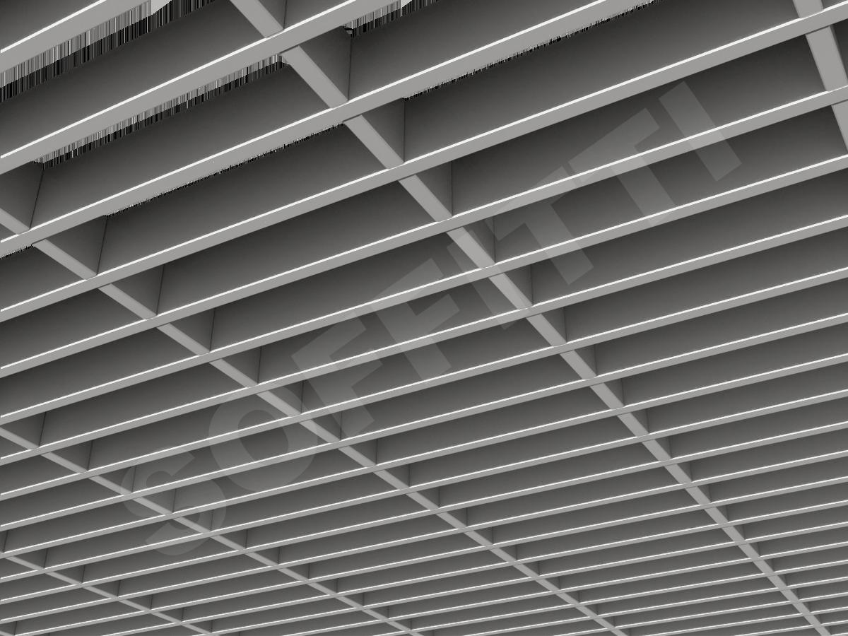 Потолок Грильято прямоугольное 200х50 мм h40 серебристый