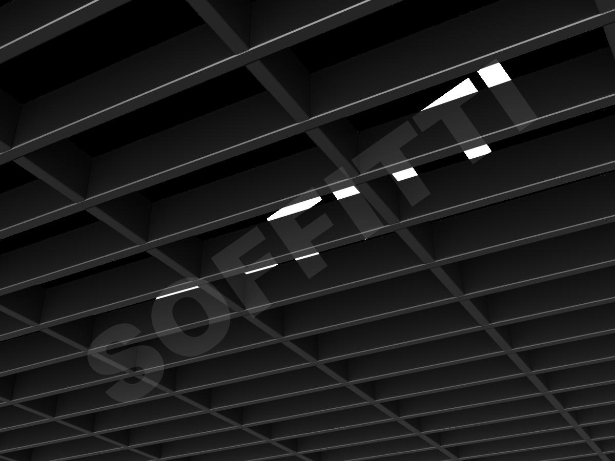 Потолок Грильято прямоугольное 200х75 мм h40 черный
