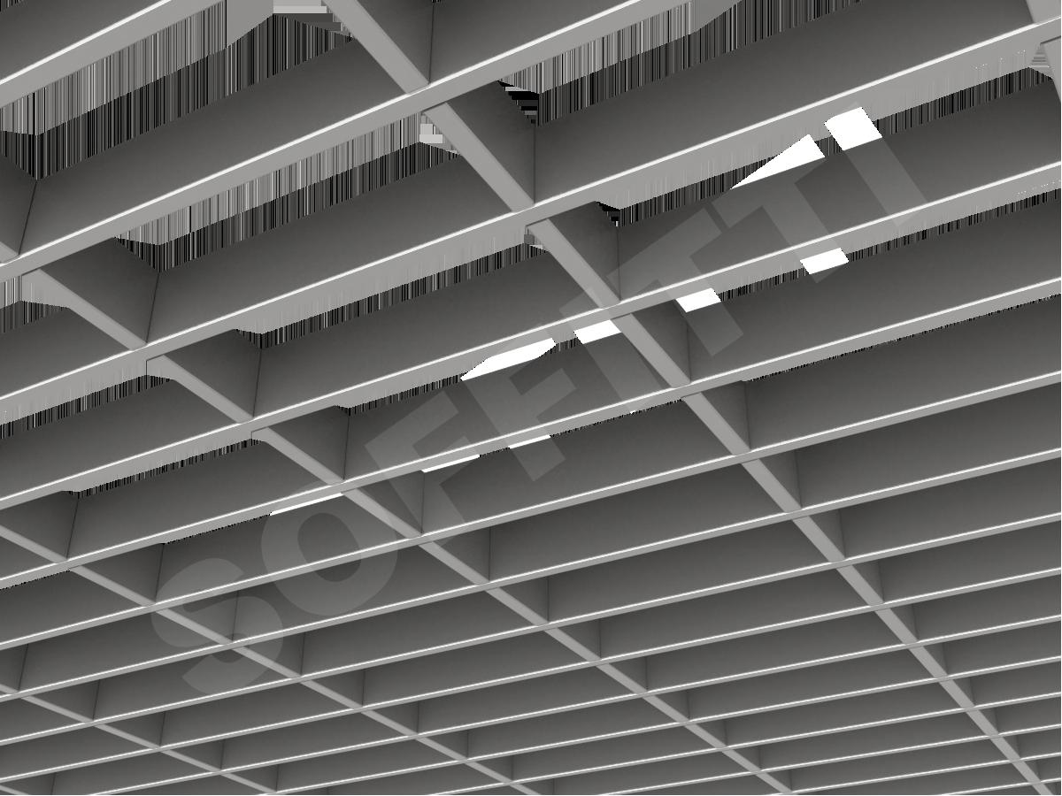 Потолок Грильято прямоугольное 200х75 мм h40 серебристый