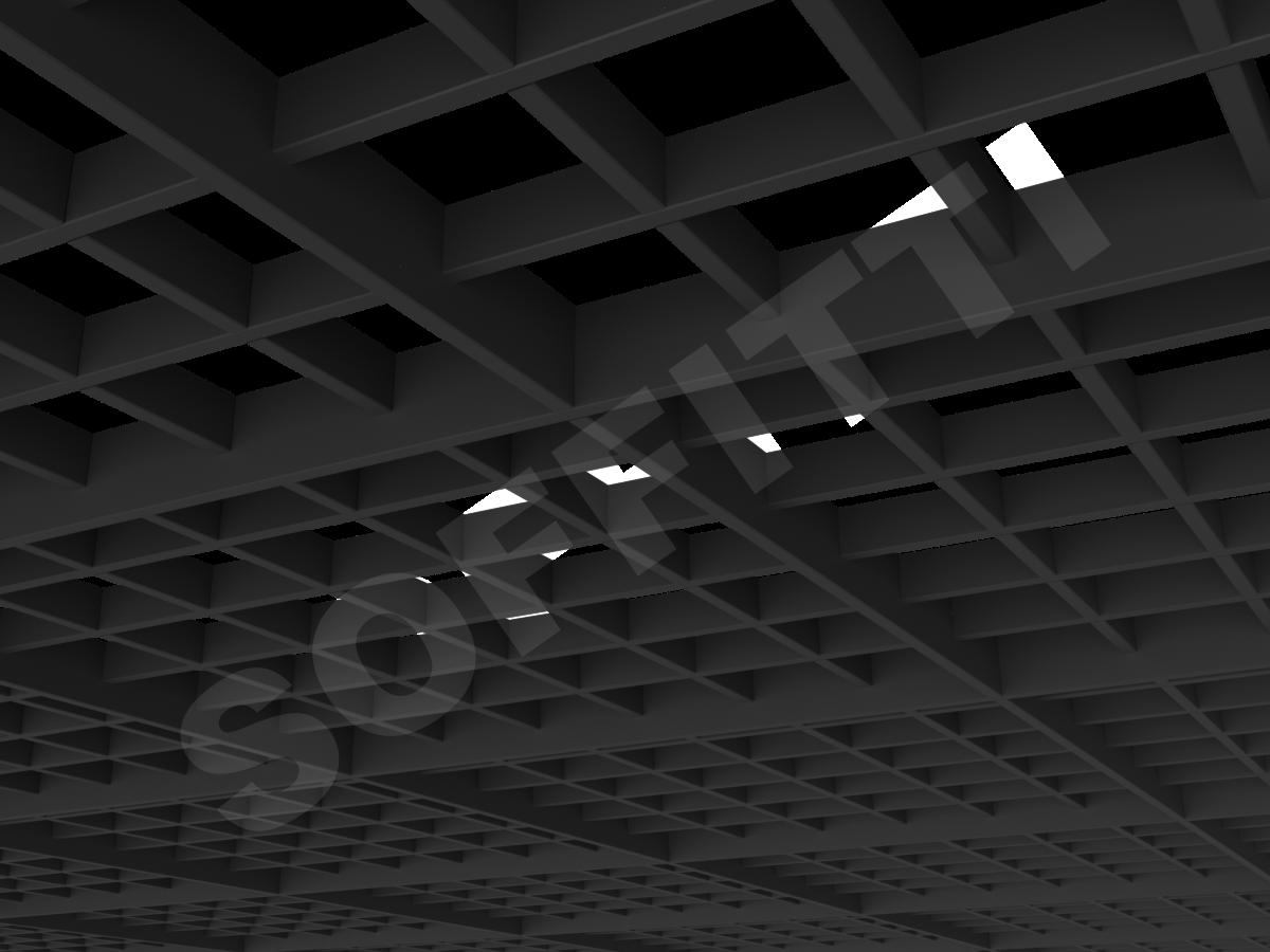 Потолок Грильято разноуровневое 100х100 мм черный