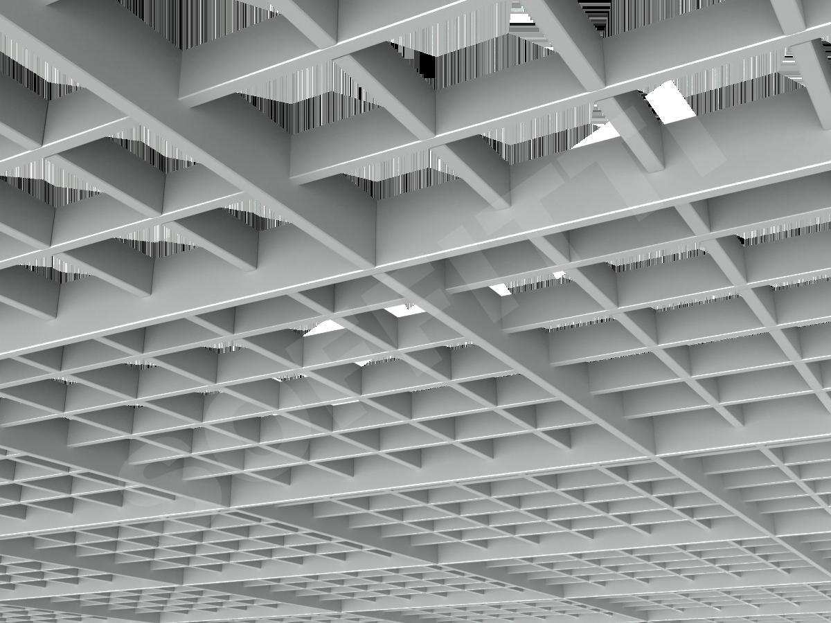 Потолок Грильято разноуровневое 100х100 мм серый