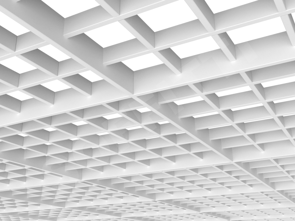 Потолок Грильято разноуровневое 100х100 мм белый