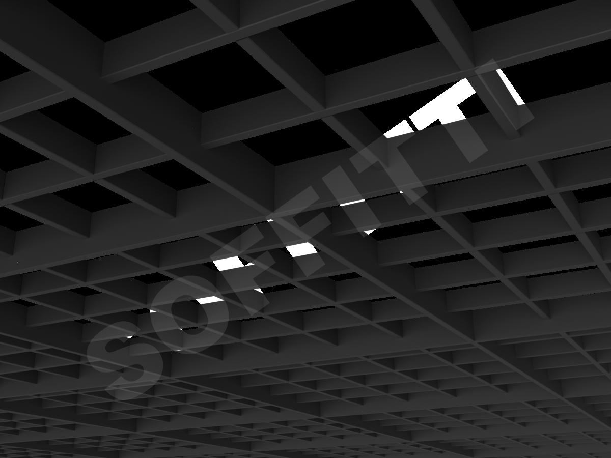Потолок Грильято разноуровневое 120х120 мм черный