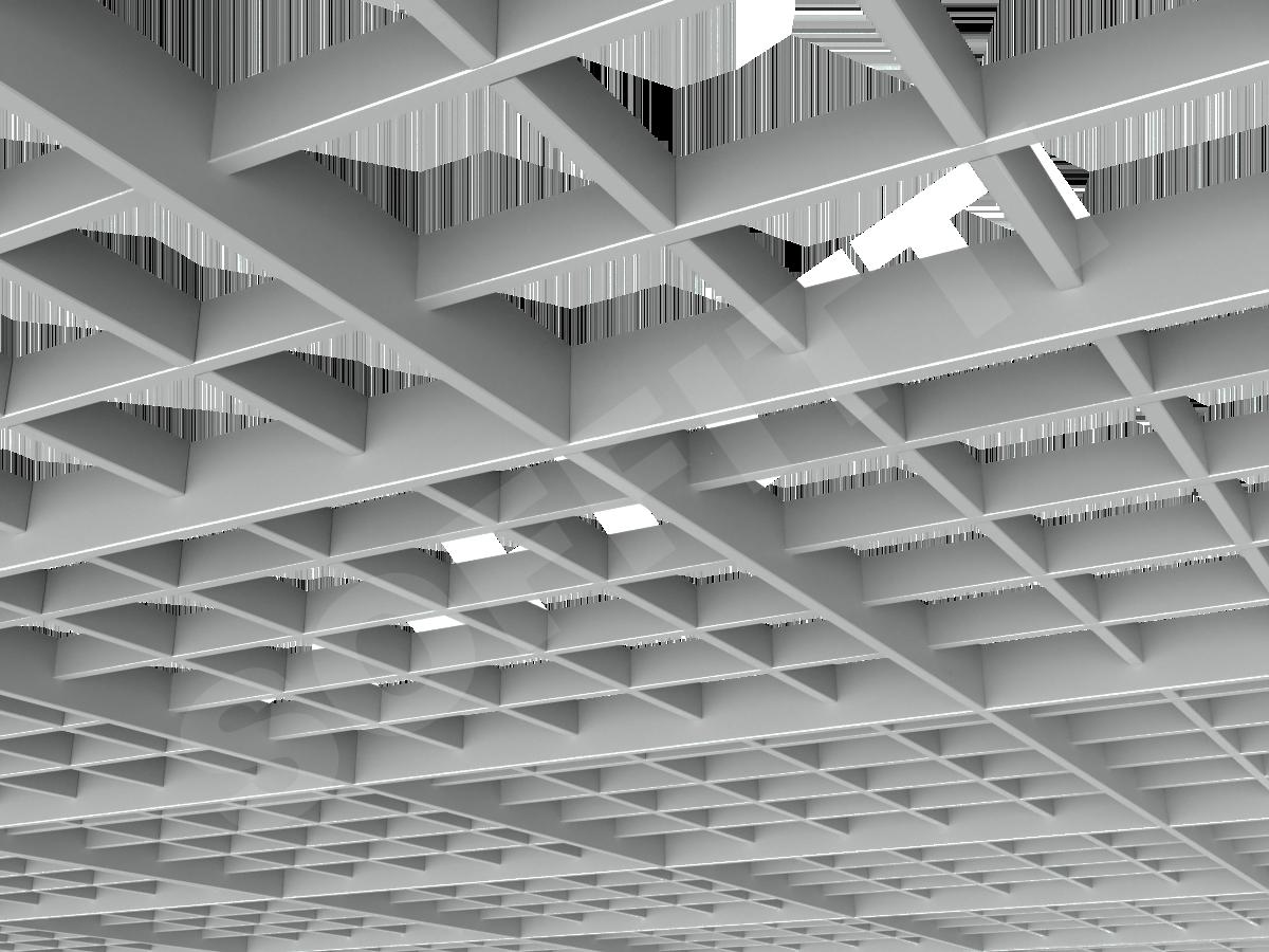 Потолок Грильято разноуровневое 120х120 мм серый