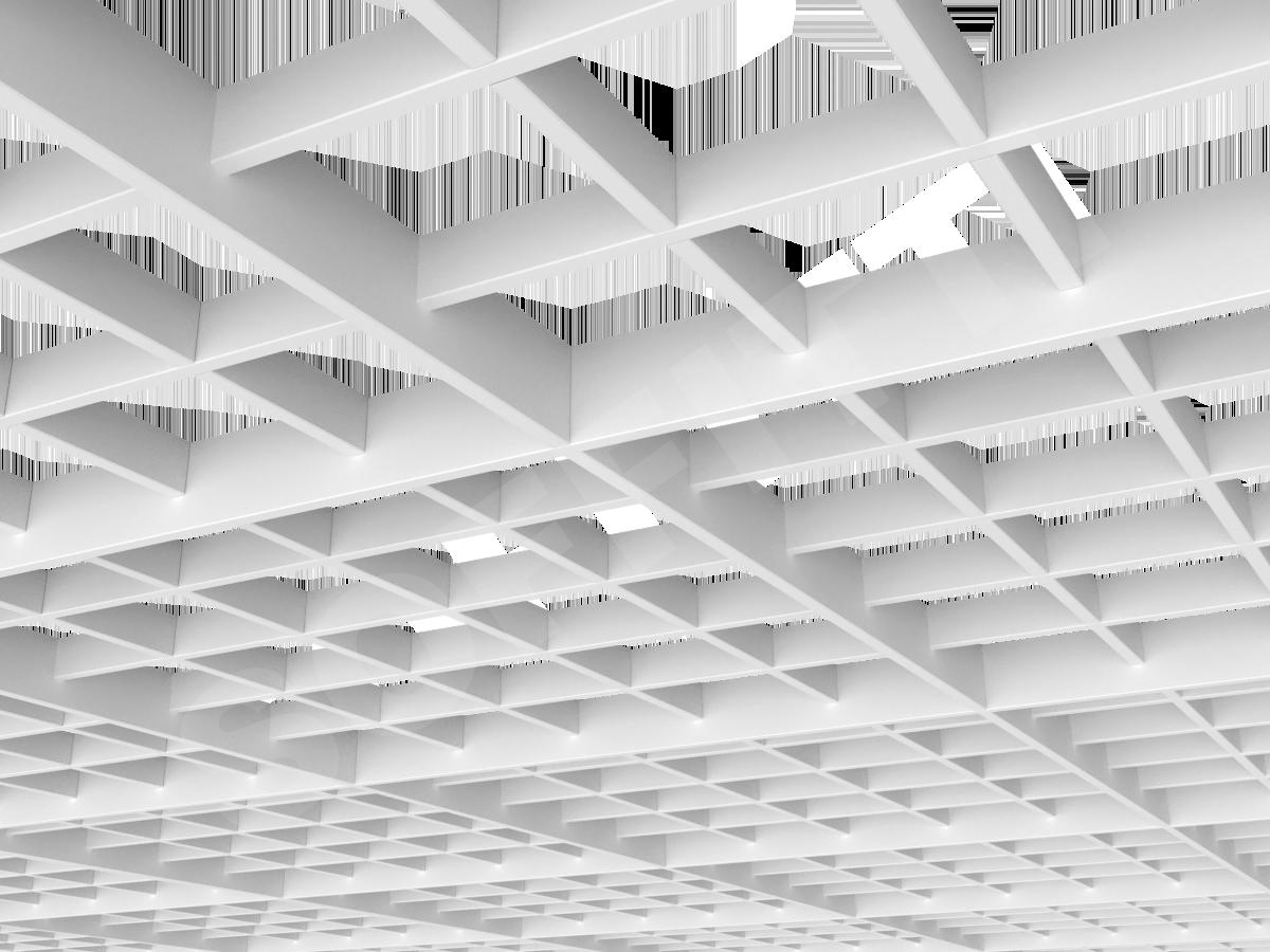 Потолок Грильято разноуровневое 120х120 мм белый
