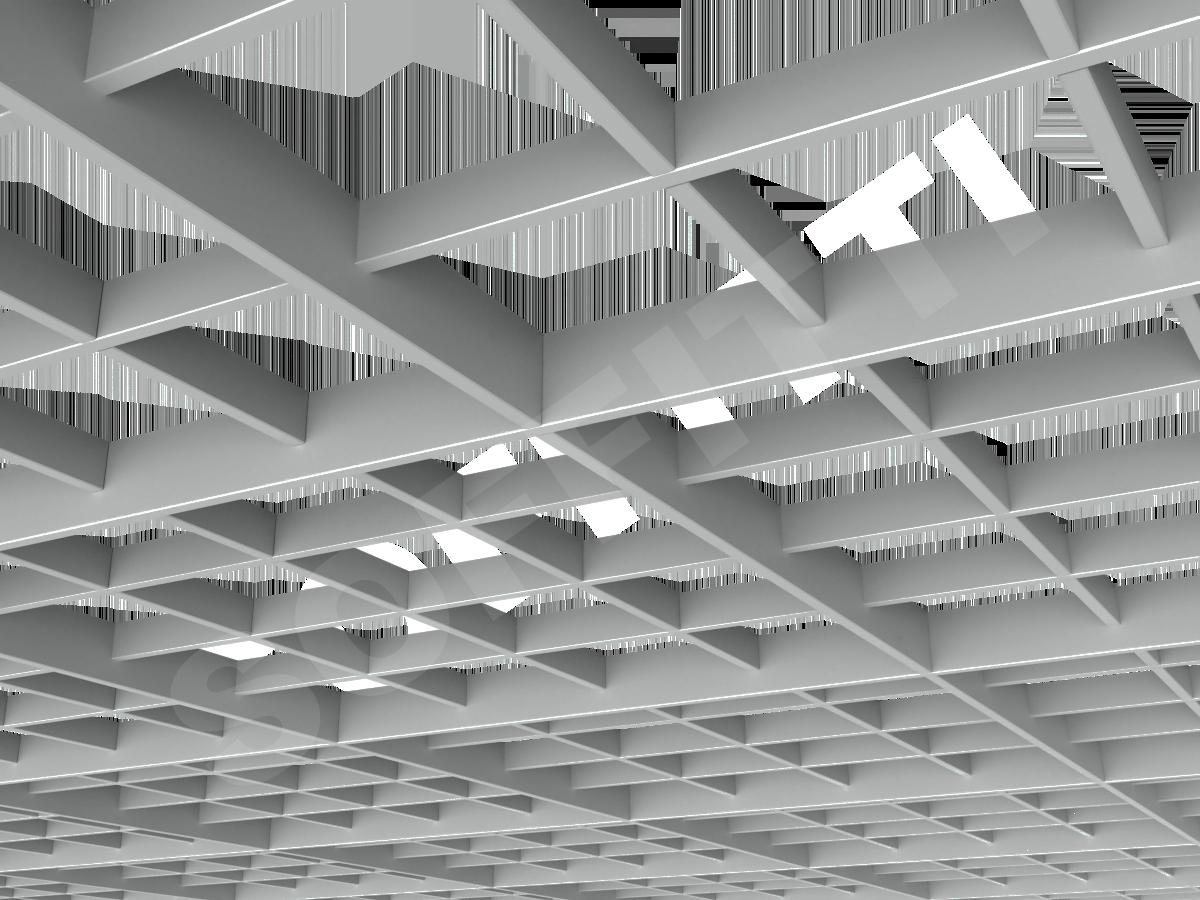Потолок Грильято разноуровневое 150х150 мм серый