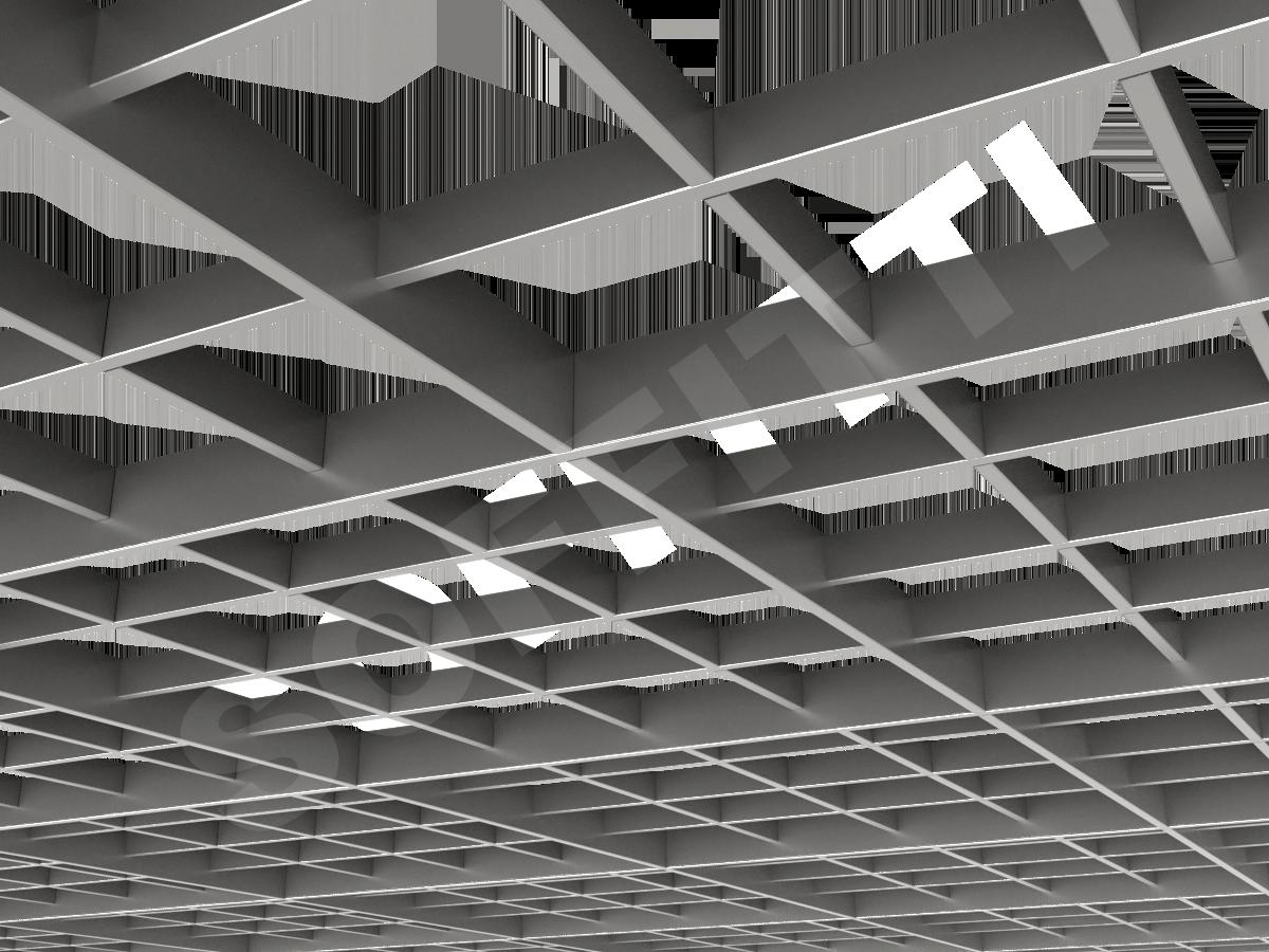 Потолок Грильято разноуровневое 150х150 мм серебристый