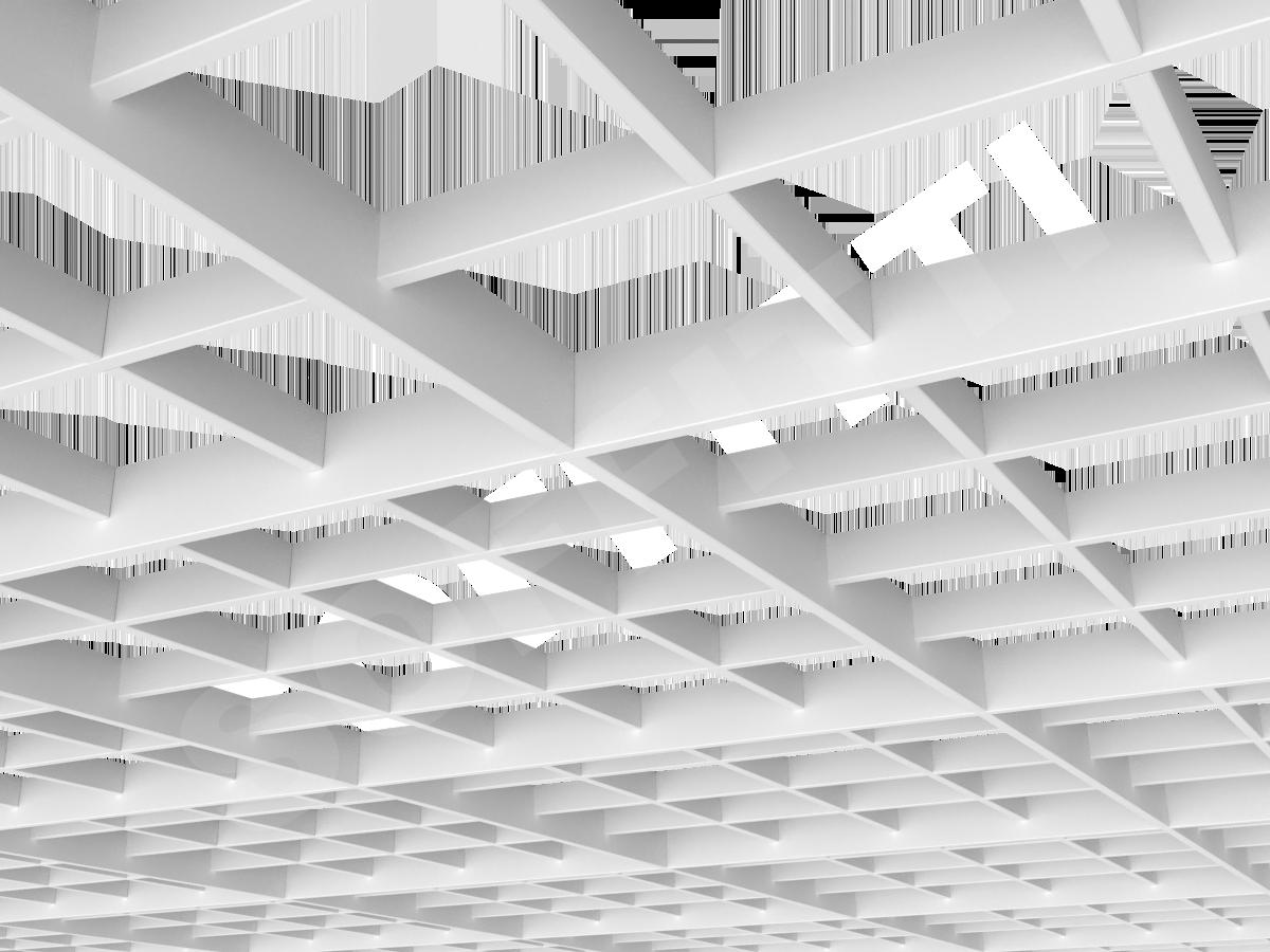 Потолок Грильято разноуровневое 150х150 мм белый