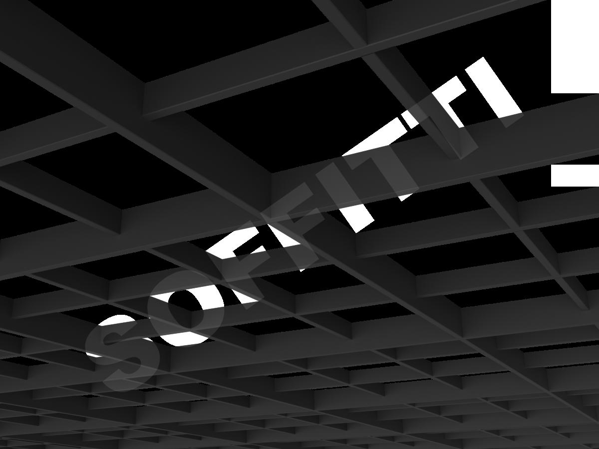 Потолок Грильято разноуровневое 200х200 мм черный