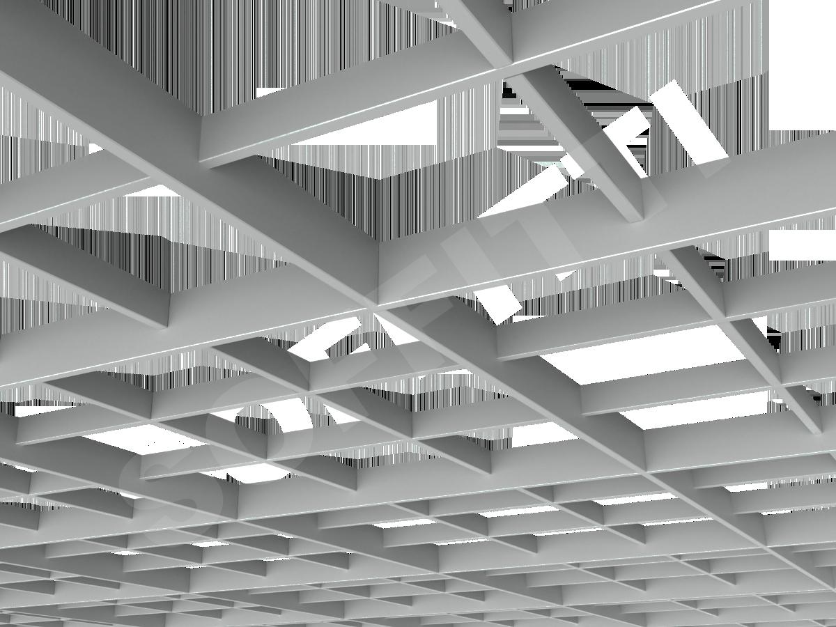 Потолок Грильято разноуровневое 200х200 мм серый