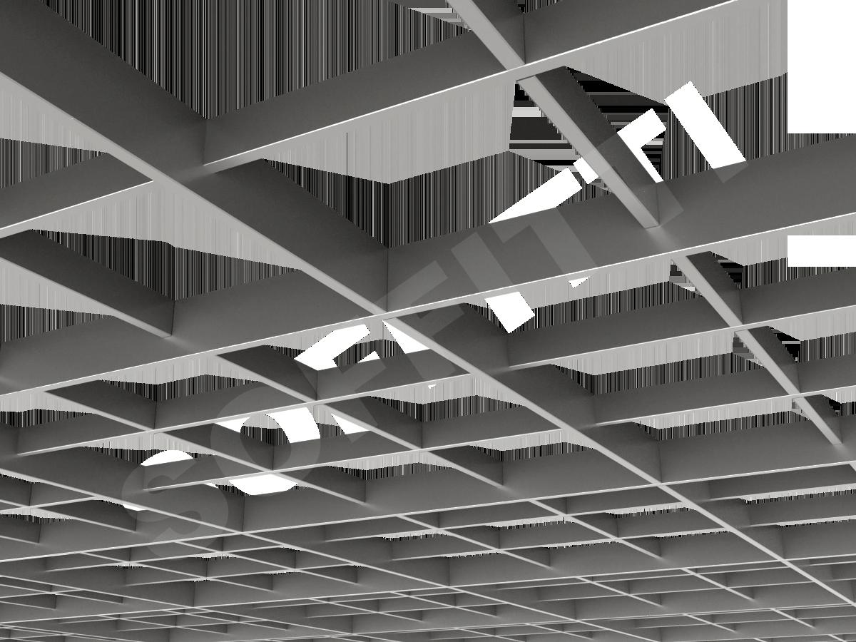 Потолок Грильято разноуровневое 200х200 мм серебристый