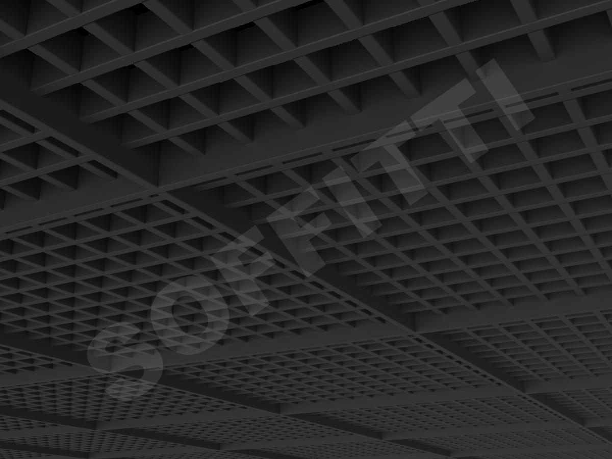 Потолок Грильято разноуровневое 50х50 мм черный