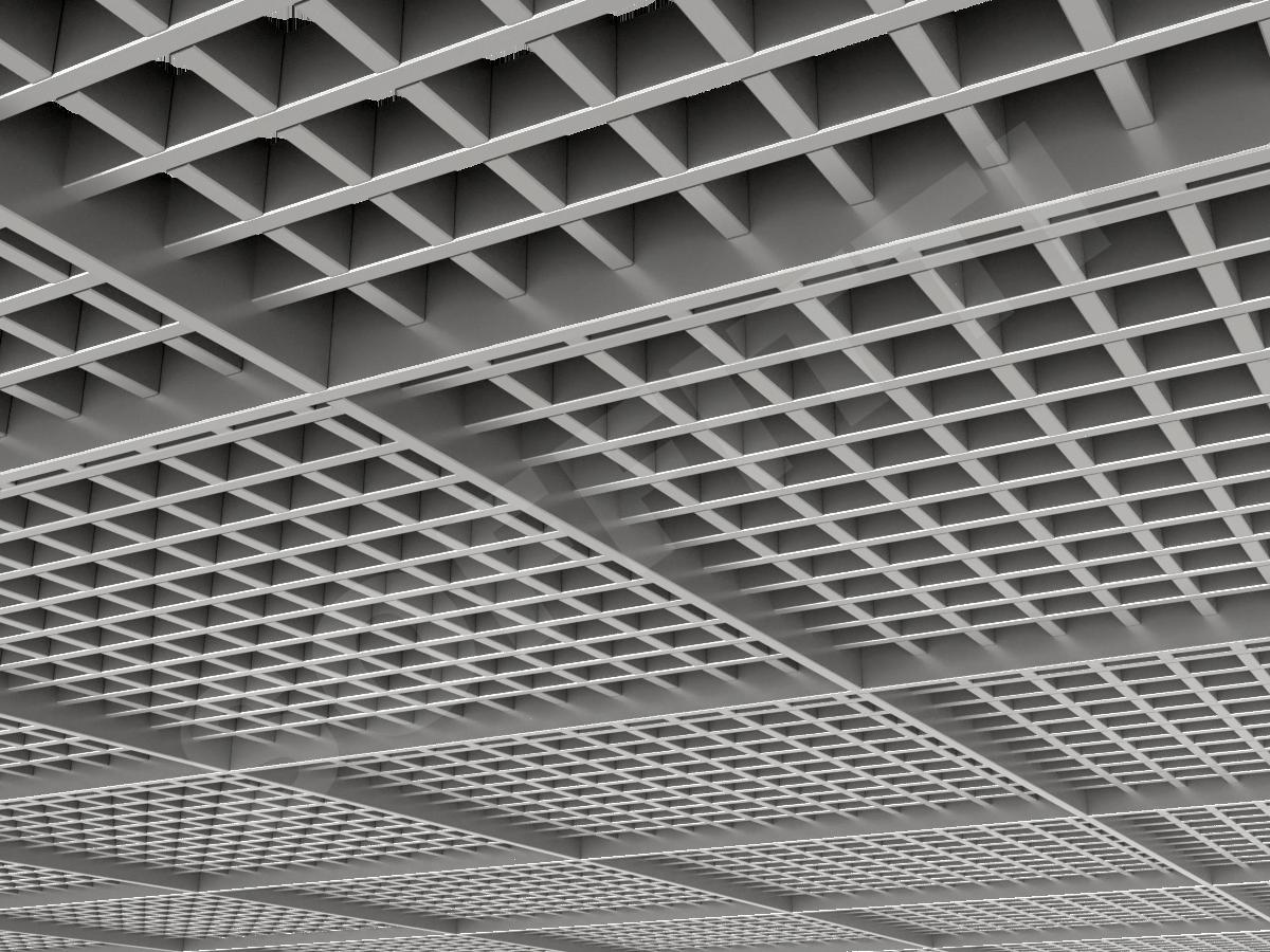 Потолок Грильято разноуровневое 50х50 мм серебристый