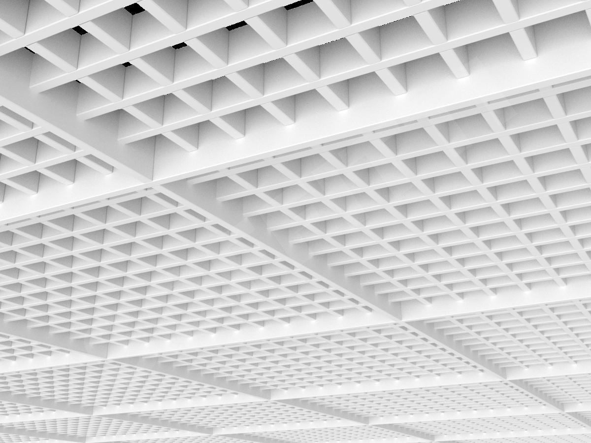 Потолок Грильято разноуровневое 50х50 мм белый