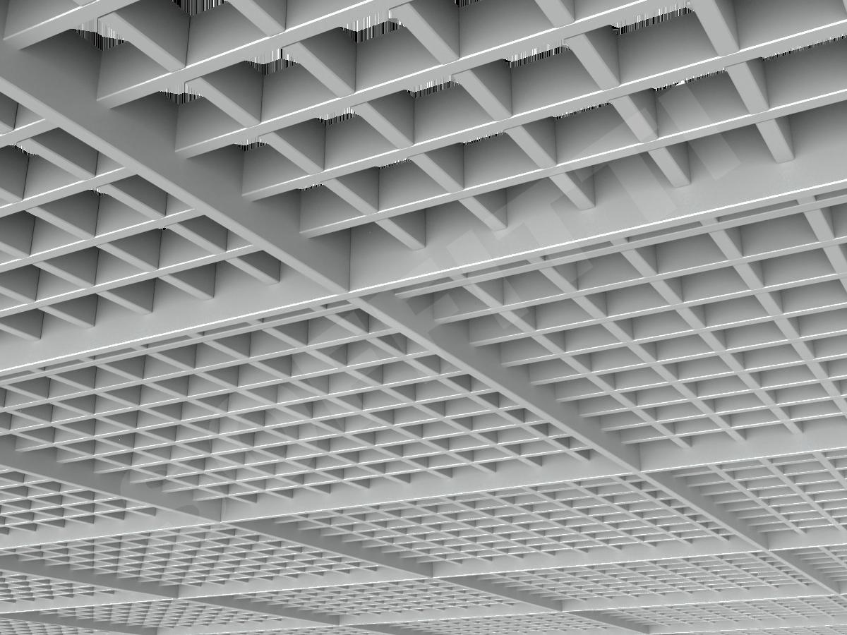 Потолок Грильято разноуровневое 60х60 мм серый