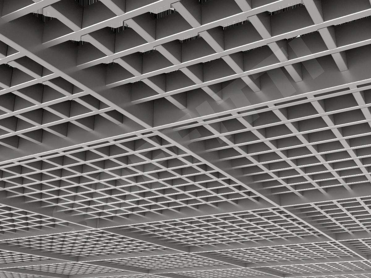 Потолок Грильято разноуровневое 60х60 мм серебристый