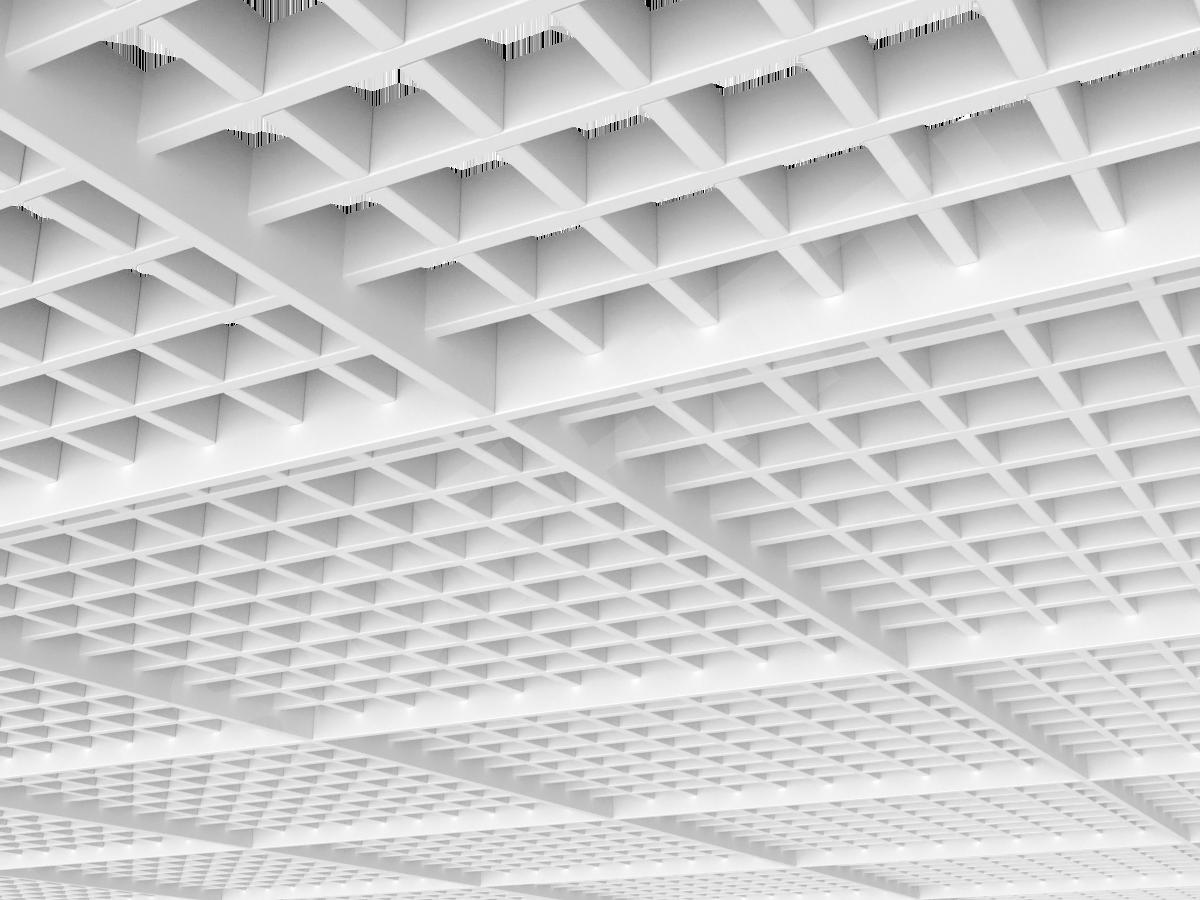 Потолок Грильято разноуровневое 60х60 мм белый