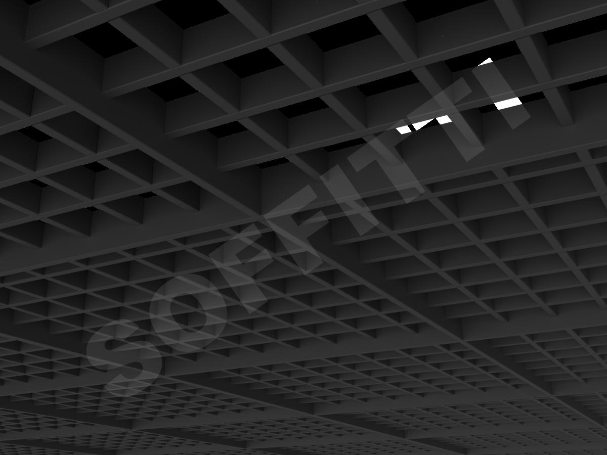 Потолок Грильято разноуровневое 75х75 мм черный